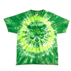 LUCKY - Green Tie Dye Shamrock Tee XL